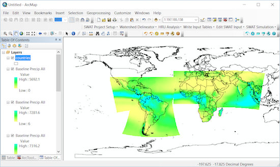 A screen shot of CORDEX data available for application through the SimCLIM ArcGIS Addin that allows for the easy visualisation and analysis of CORDEX data in the GIS environment.